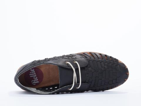 Rollie In Black Distressed Leather Chukka Huarache