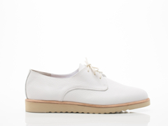 Rollie In White Tumble Leather Derby Wedge Mens