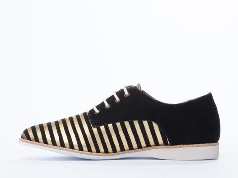 Rollie In Black Gold Stripe Derbys