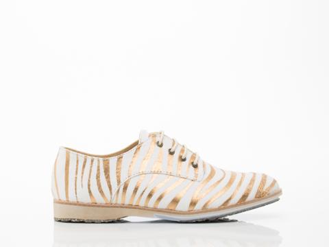 Rollie In White Gold Zebra Calf Hair Derbys