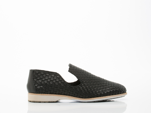Rollie In Black Weave Leather Parker Womens