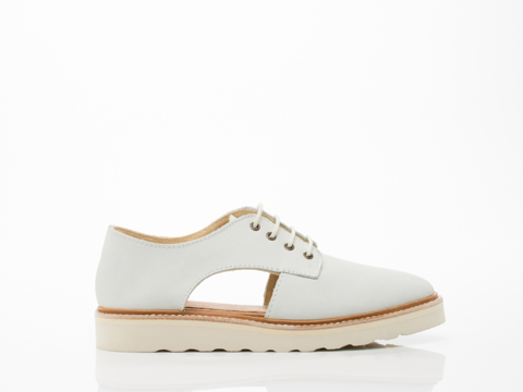 Rollie In Off White Leather Sidecut Thick Sole Womens
