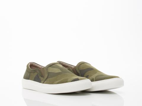 Rollie In Khaki Camo Suede Slip On Sneaker Womens