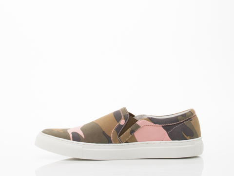 Rollie In Pink Camo Suede Slip On Sneaker Womens
