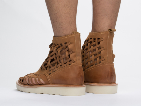 Rollie In Cognac Distressed Leather Thicksole Huarache Mens