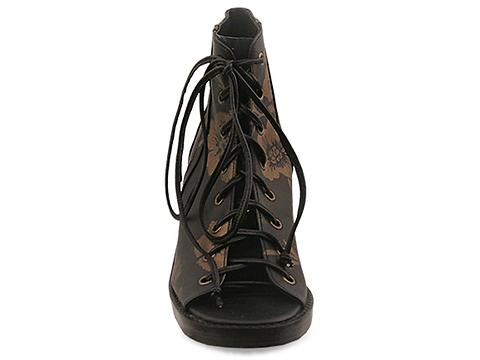 Shakuhachi In Black Gold Brocade Lace Up Bootie