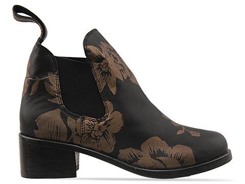 Shakuhachi In Black Gold Elastic Riding Boot