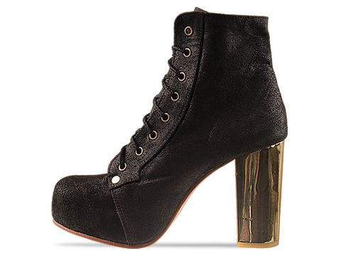 Shakuhachi In Black Gold Metal Heel Lace Up Boot