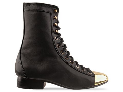 Shakuhachi In Black Gold Metal Toe Lace Up Boot
