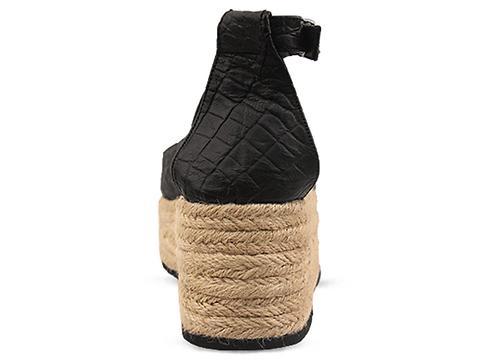 Shakuhachi In Black Mock Croc Slingback