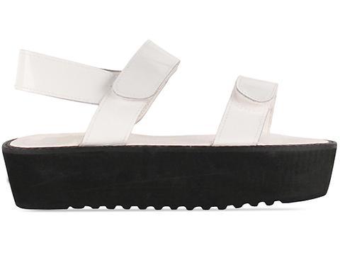 Shakuhachi In White Patent Velcro Sandal