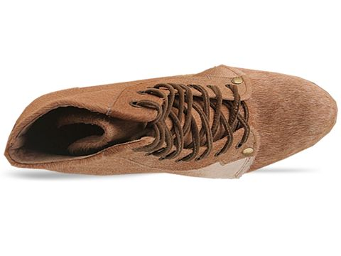 Shakuhachi In Taupe Pony Lace Up Boot
