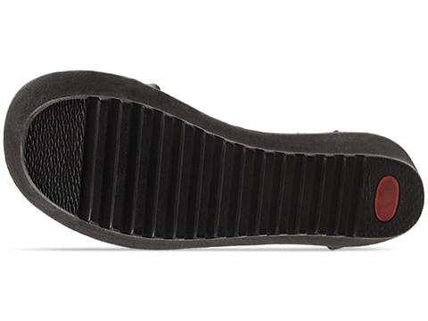 Shakuhachi In Black Croc Tread Platform Sandal