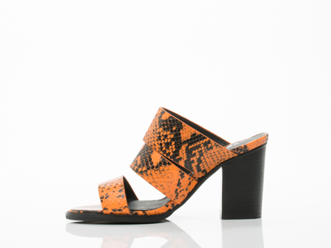 Sol Sana In Orange Python Bindi Heel