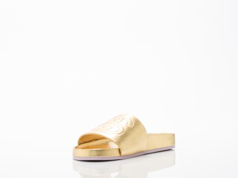 Stussy X Solestruck In Gold Link Slide Sandals