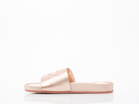 Stussy X Solestruck In Rose Gold Link Slide Sandals