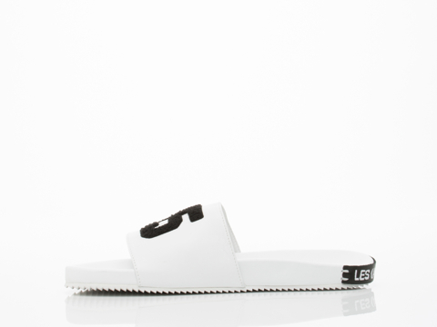 Swear X Les (Art)ists In White Smooth Leather Slide Mens