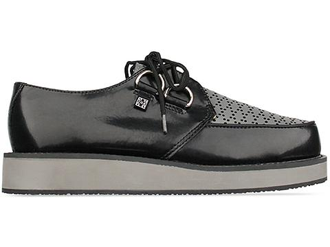 T.U.K. In Black Grey Leather A7850 Creeper Womens