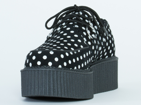 T.U.K. In Black White Polka Dot Mondo Creeper
