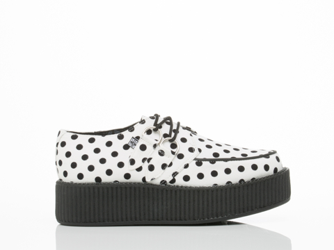 T.U.K.White Black Polka Dot