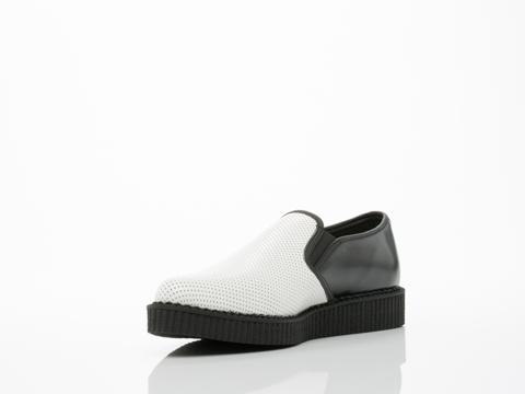 T.U.K. In Black White Pointed Toe Creeper Slip On Mens