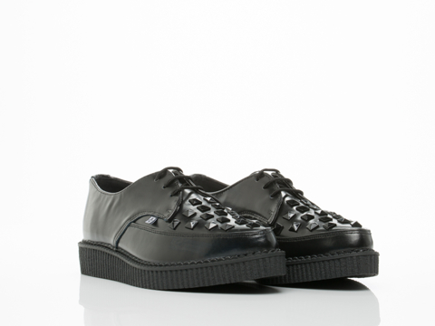 T.U.K. In Black With Studs Pointy Toe Creeper Mens