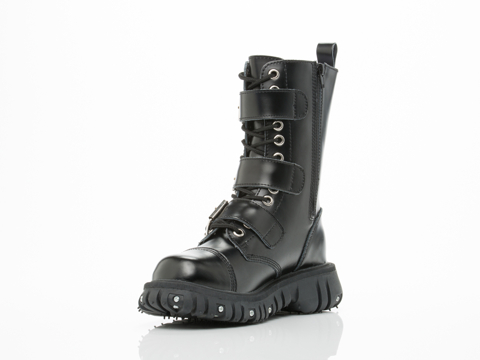 T.U.K. In Black Port 3 Strap Buckle Boot