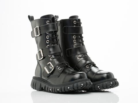 T.U.K. In Black Port 3 Strap Buckle Boot Mens