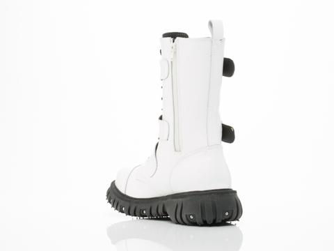 T.U.K. In White Port 3 Strap Buckle Boot Mens