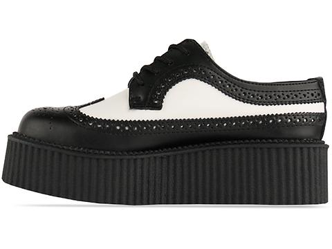 T.U.K. In Black White Wingtip Mondo Creeper