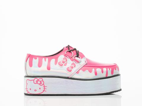 T.U.K. X Hello Kitty In Silver Drips Holo Wrap Creeper