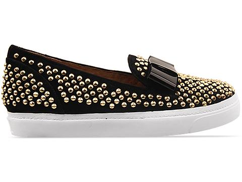 The Damned In Black Suede Gold Hawk Studded With Bow