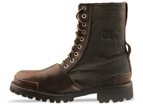 Timberland Boot Company In Dark Brown Distressed With Olive 76112 Tackhead 8 Inch Boot Mens