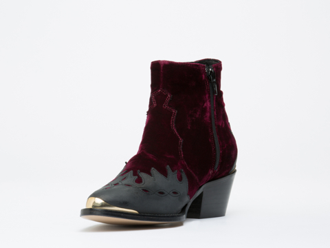 To Be Announced In Burgundy Velvet Black Leather Pony Ride