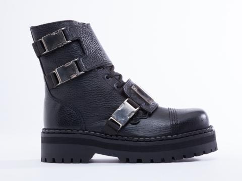 Underground In Black Tumbled Leather Commando Double Sole