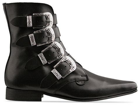 Underground In Black Grain Leather Western Peck Boot
