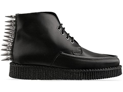 Underground In Black Box Leather Spike With Zip Boot Mens
