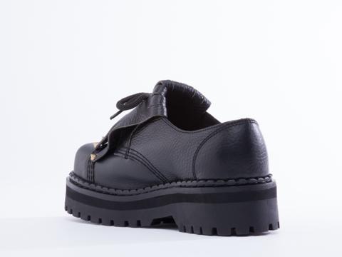 Underground In Tumbled Black Leather Steel Cap Fringe Shoe