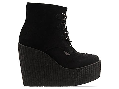 Underground In Black Suede Wedge Ankle Boot