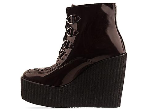 Underground In Burgundy Patent Wedge Ankle Boot