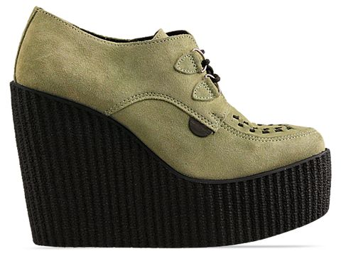 Underground In Mint Suede Wedge Creepers