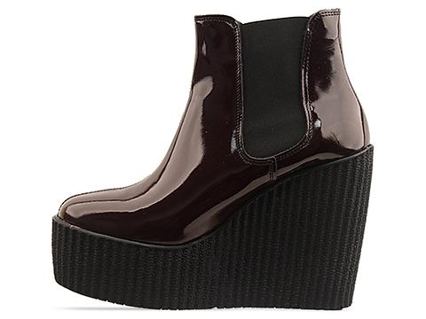 Underground In Burgundy Patent Wedge Elastic Boot