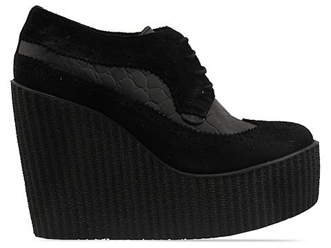 Underground In Black Suede Black Wedge Lace Up