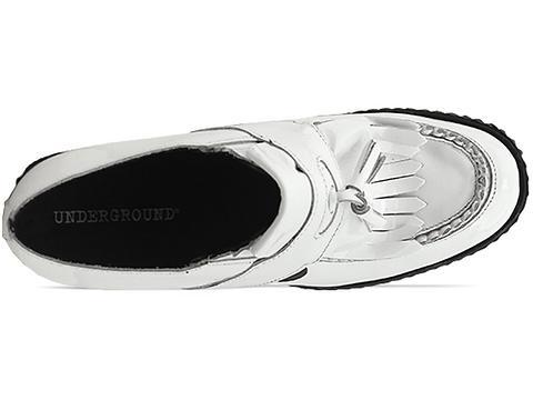 Underground In White Patent Wedge Loafer Tassel