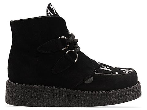 Underground X Boy London In Black Suede Boy Print Ankle Boot