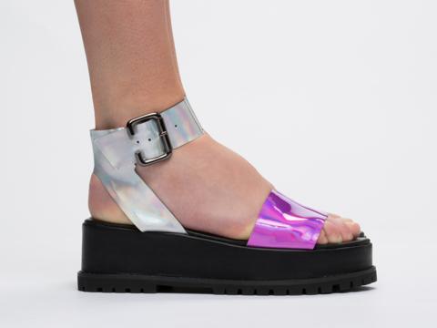 UNIF In Pink Hologram Seeker Sandal