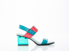 United Nude In Raspberry Fade Teal Green Mid Rise Sandal
