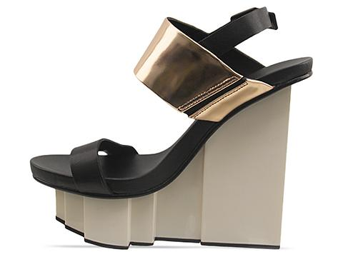 United Nude In Black Rose Gold Rockerfeller Slingback Sandal