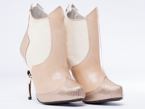 United Nude In Cream Gold Shadow Bootie