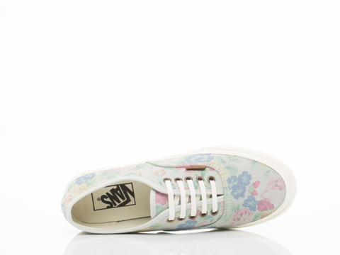 Vans In Marshmallow Suede Floral Authentic Slim